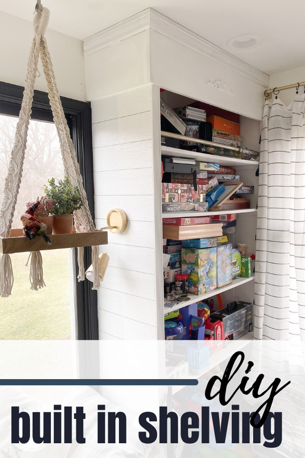 This DIY built in shelving follows a very basic technique for beginner woodworkers to create functional storage.#diywoodworking #diybuiltins #playroomstorage #beginnerwoodworking #buildityou