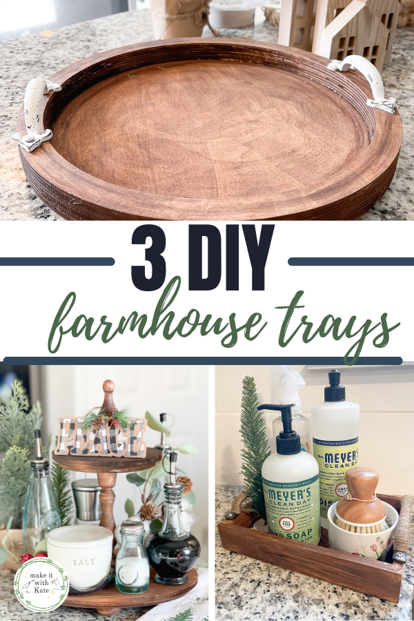 These DIY farmhouse trays are so much fun to make, plus they're easy! Check out the single round tray, tiered tray, and small serving tray.