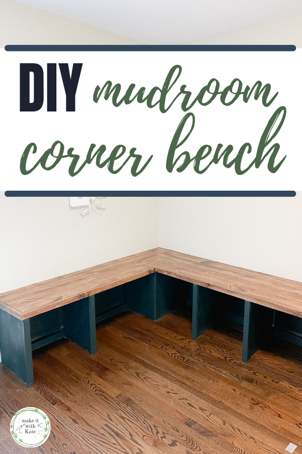 This DIY mudroom bench is a corner bench with open cubby storage below. Use this basic design for any size or length bench. #mudroomdesign #diywoodworking #diybuildingprojects #homedesign #interiordesign #buildingplans