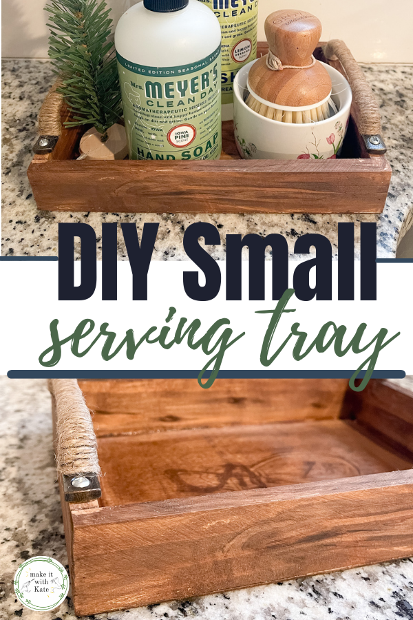 This DIY small serving tray is made from an inexpensive unfinished wood plaque. Check out how easy this beginner woodworking project really is! #diyhomedecor  #wood trays #beginnerwoodworking #farmhousedecor