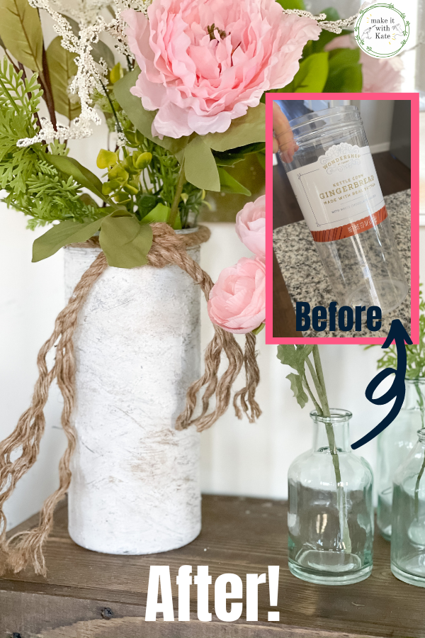 This faux birch vase is made from an empty plastic jar, some paint and some dirt. See how to transform plastic into faux birch! #diycraft #recycledcrafts #fauxvase #diypottery #mudvase #diyartsandcrafts #diyhomedecor #farmhousedecor #modernfarmhouse