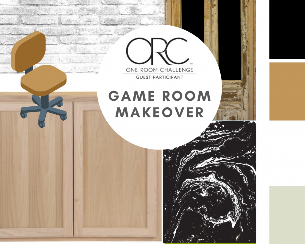 This game room makeover is part of the One Room Challenge. It will include DIY building projects, wall treatment, and more!