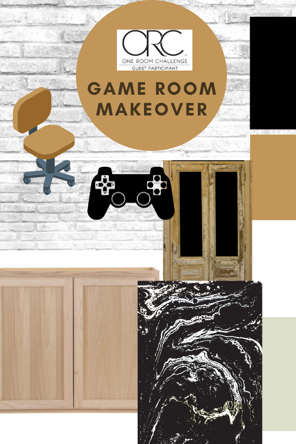 This game room makeover is part of the One Room Challenge. It will include DIY building projects, wall treatment, and more! #oneroomchallenge #BHGORC #gameroommakeover #diyprojects
