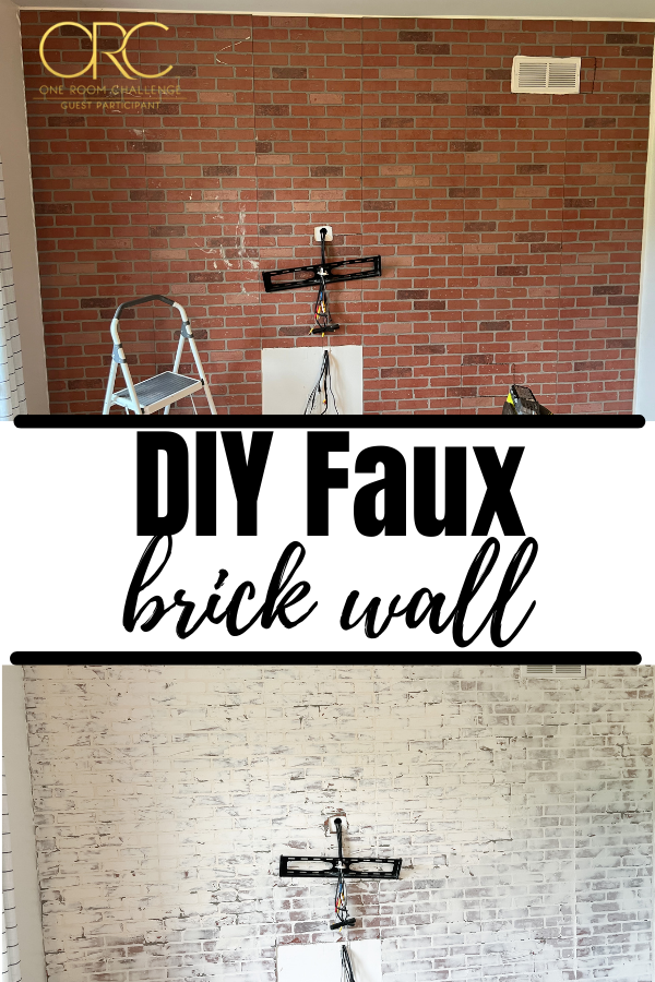 This faux brick wall is made with joint compound and wall paneling, and when you're done with it, it looks like real german schmear.